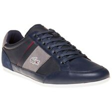 New Mens Lacoste Blue Chaymon Premium Leather Trainers Lace Up