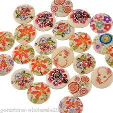 Wholesale lots FREESHIPPING Mixed Wood Painting Sewing Buttons 15mm B10608