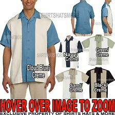 Mens Two Tone Camp Shirt Wrinkle Resistant Tropical Bowling S-XL 2XL,3XL,4XL NEW