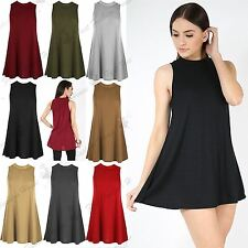 Ladies Womens Ribbed Top Sleeveless Polo Neck Baggy Flared Swing Vest Dresses