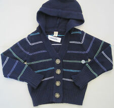 OLD NAVY Girl's Navy Blue Striped Hooded Cardigan Sweater Size Small NWT