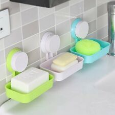 Wall Mounted Suction Cup Bathroom Shower Soap Tray Dish Holder Storage Box Case