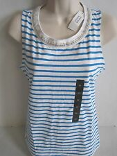 BANANA REPUBLIC Women's Blue Striped Embellished Tank Top Size S,M NWT