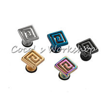 STAINLESS STEEL SCREWBACK SQUARE SPIRAL GOTH PUNK MENS UNISEX STUD EARRING