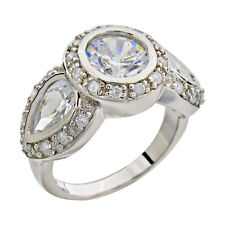 Round /Pear Cut Cubic Zirconia Sterling Silver Bridal Wedding/Engagement Ring