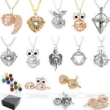 Gold/Silver Hollow Cage Lockets + 7 Natural Gemstone Pendants Chain Necklace Set