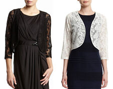 WOMENS LADIES BLACK WHITE 3/4 LENGTH SLEEVE LACE SHRUG BOLERO 16-18-20-22