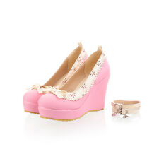 Womens Ankle Strap Platform High Wedge Heel Sweet Candy Court Pump Shoes Free PP