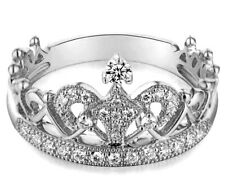 18K White Gold GP Austria Crystal CZ Princess Crown Tiara Engagement Ring R66b