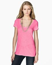 Juicy Couture T-Shirt Womens Size M Pink Short Sleeve Top Basic Deep V-Neck Tee