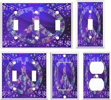 Light Switch Cover Plate ~ Shades of Purple Floral Peace Sign Design