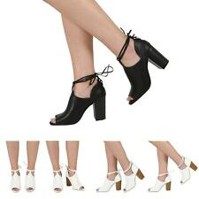 NEW WOMENS PARTY SANDALS CHUNKY HIGH BLOCK HEEL LADIES PEEPTOE SHOES SIZE 3-8