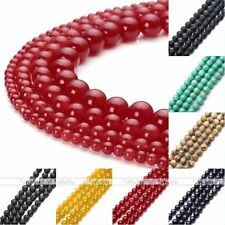 4,6,8,10mm Round Black Natural Agate Turquoise Lava Rock Stone Charm Loose Beads