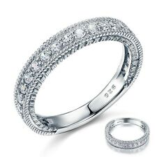 Style Art Deco Simulated Diamond Solid Sterling 925 Silver Band Eternity Ring