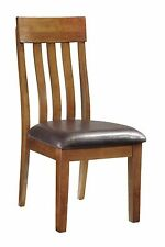 Ashley Casual Design Medium Brown Dining Room Side Chairs Faux Leather Seat