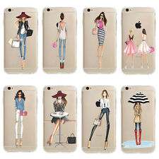 Ultra Thin Fashion Girl Pattern Clear Soft TPU Back Case Cover For Apple iPhone