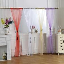 Door Room Voile Window Curtain Sheer Panel Drapes Scarfs Curtain Multi-Colors
