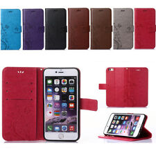 Luxury Leather Flip Card Wallet Beauty Butterfly Stand Case Cover For Smartphone