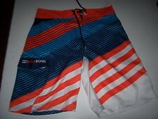 NEW BILLABONG swim board shorts trunks orange blue stripe  sz 30 32  34 38