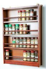Wooden Spice Rack – Enclosed Top – 4 Tiers – Wooden Bar – 72 Herb and Spice Jars