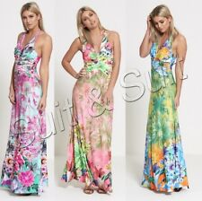 NEW WOMENS LADIES CASUAL SUMMER STUDDED HALTER NECK FLORAL PRINT LONG MAXI DRESS