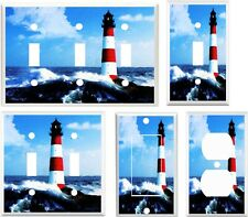 Light Switch Cover Plate ~ Red & White Lighthouse beach ocean landscape theme