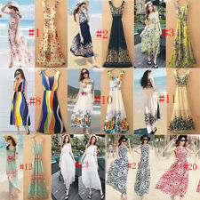 Sexy Women Summer Boho Long Maxi Dress Party Beach Chiffon Sleeveless Dress Mini