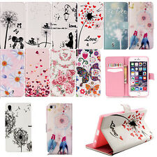 Luxury Painting Magnetic Flip Leather Card Wallet TPU Stand Case Cover For Phone