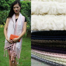 Fashion Women Charm Velvet Wool Mesh Stitching Lace Trim Long Scarf Shawl Wrap