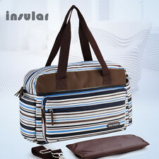 Striped Baby diaper bag with changing pad Women Maternity Tote bag