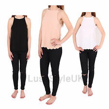 NEW LADIES SCALLOP HEM MUSCLE BACK CAMI TOP WOMENS CREPE CAMI VEST UK S/M M/L