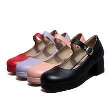 Womens Girl Cuban Heel Mary Jane Pumps Casual Court Ankle Strap Shoes Trendy Hot