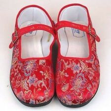 Women's Chinese Mary Jane Floral Brocade Shoes Red Sizes 6 - 11 New
