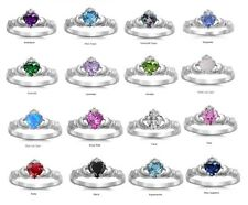 Claddagh Ring Sterling Silver AAA Quality CZ Promise Ring [CHOOSE YOUR COLOR]