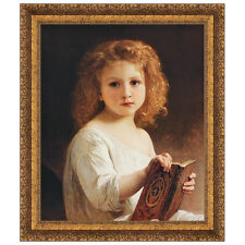 The Story Book, 1877 by William Adolphe Bouguereau Framed Painting Print