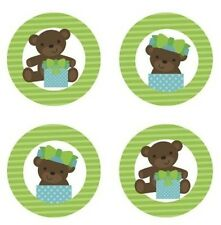 Teddy Bear Baby Boy {Green} Edible Cupcake Toppers Decoration