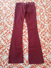 RIVER ISLAND BURGUNDY FLARED HIPPY BELLBOTTOM STRETCH TROUSERS JEANS SZ 8