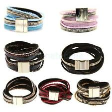 Men's Artificial Leather Magnetic Buckle Clasp Cuff Bangle Bracelet Wristband