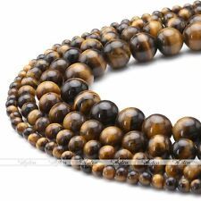 4mm 6mm 8mm 10mm Natural Tiger Eye Gemstone Round Charm Loose Beads Findings