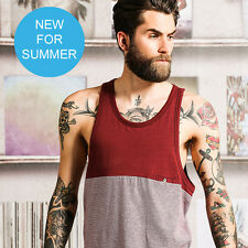 Brave Soul Mens Two Tone Solid & Striped Vest Holiday Tank Top Fashion New