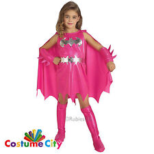 Child's Girl's Official Pink Batgirl DC Comics Super Hero Fancy Dress Costume