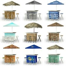 Select Tropical TIKI & Urban Design L-Shaped Portable Bar w/ 4 Stools & Umbrella