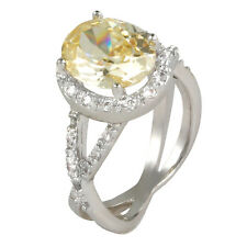 THE LOOK OF REAL 4CT PAVE &  OVAL CANARY  CUBIC ZIRCONIA HALO  RING BRIDAL