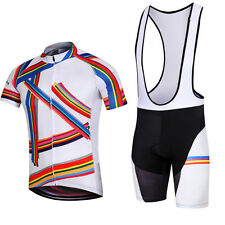 Novelty Men's Cycling Kit Bike Jersey and Bibs Shorts Cycling Short Set Rainbow