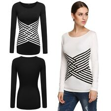 Women Fashion Cross Stripe Printed Stretch Round Neck Long Sleeve T Shirt Top