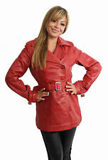 Womens Trench Leather Jacket RED Fitted Double Breasted Reefer Mid Length COAT
