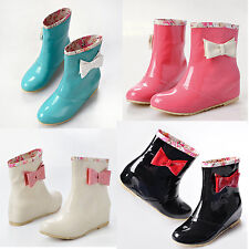 Womens girls rain boots Bowknot bedeck Ankle Boots rain shoes Candy Colors Size