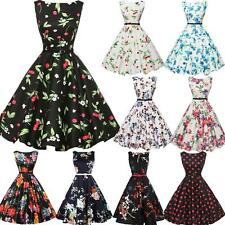 Vintage 50s 60s Floral Evening Party Lady Housewife Pinup Rockabilly Swing Dress