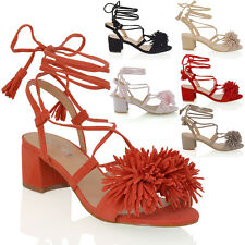 WOMENS LOW BLOCK HEEL FRINGE STRAPPY LADIES LACE UP TIE SANDALS SHOES SIZE