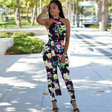 Hot Women Halter Neck Floral Slim Long Jumpsuit Backless Sleeveless Club Romper
